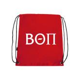 Red Drawstring Backpack-Beta Theta Pi Greek Letters