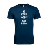 Next Level SoftStyle Navy T Shirt-Keep Calm and Go Beta