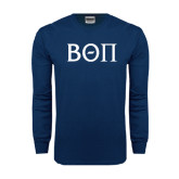 Navy Long Sleeve T Shirt-Beta Theta Pi Greek Letters