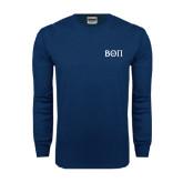 Navy Long Sleeve T Shirt-Beta Theta Pi Greek Letters