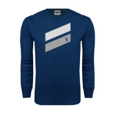 Navy Long Sleeve T Shirt-Stripe Design