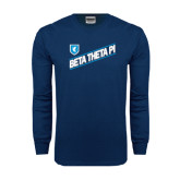 Navy Long Sleeve T Shirt-Beta Theta Pi Diagonal