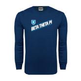 Navy Long Sleeve T Shirt-Beta Theta Pi Diagonal