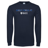 Navy Long Sleeve T Shirt-Beta Theta with pattern