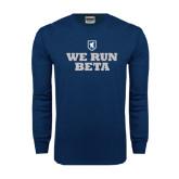 Navy Long Sleeve T Shirt-We Run Beta with Pattern