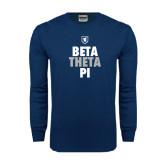 Navy Long Sleeve T Shirt-Stacked BTP