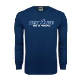 Navy Long Sleeve T Shirt-Beta 4 Life with Pattern