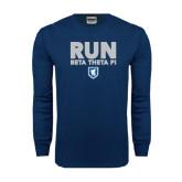 Navy Long Sleeve T Shirt-Run Beta Theta Pi w/ Shield Stacked