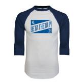 White/Navy Raglan Baseball T-Shirt-Beta Theta Pi Triangles