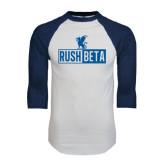 White/Navy Raglan Baseball T-Shirt-Rush Beta Cutout