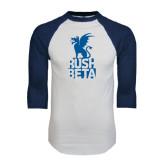 White/Navy Raglan Baseball T-Shirt-Rush Beta Stacked