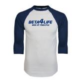 White/Navy Raglan Baseball T-Shirt-Beta 4 Life with Pattern