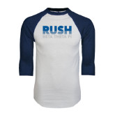 White/Navy Raglan Baseball T-Shirt-Rush Lines Beta Theta Pi