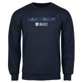 Navy Fleece Crew-Beta Theta with pattern