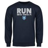 Navy Fleece Crew-Run Beta Theta Pi w/ Shield Stacked