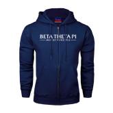 Navy Fleece Full Zip Hoodie-Beta Theta Pi