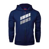 Navy Fleece Full Zip Hoodie-Stripe Design