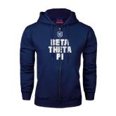 Navy Fleece Full Zip Hoodie-Stacked BTP with pattern