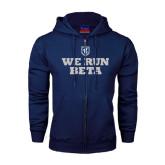Navy Fleece Full Zip Hood-We Run Beta with Pattern
