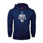 Navy Fleece Full Zip Hoodie-Stacked BTP