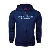 Navy Fleece Full Zip Hood-Beta 4 Life with Pattern