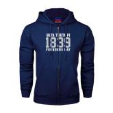 Navy Fleece Full Zip Hood-Founders Day 1839