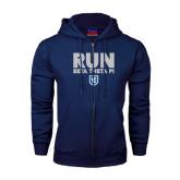 Navy Fleece Full Zip Hood-Run Beta Theta Pi w/ Shield Stacked