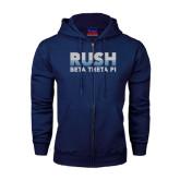Navy Fleece Full Zip Hood-Rush Lines Beta Theta Pi