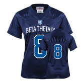 Ladies Navy Replica Football Jersey-Official Logo White Letters