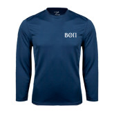 Syntrel Performance Navy Longsleeve Shirt-Beta Theta Pi Greek Letters