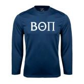 Performance Navy Longsleeve Shirt-Beta Theta Pi Greek Letters