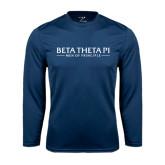 Performance Navy Longsleeve Shirt-Beta Theta Pi
