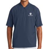 New Era Navy Cage Short Sleeve 1/4 Zip-Official Logo