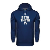 Under Armour Navy Performance Sweats Team Hoodie-Stacked BTP with pattern