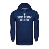 Under Armour Navy Performance Sweats Team Hoodie-We Run Beta with Pattern