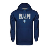 Under Armour Navy Performance Sweats Team Hoodie-Run Beta Theta Pi w/ Shield Stacked