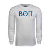 White Long Sleeve T Shirt-Beta Theta Pi Greek Letters
