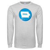 White Long Sleeve T Shirt-Iowa