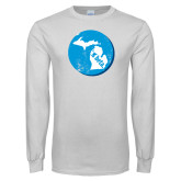 White Long Sleeve T Shirt-Michigan