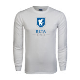 White Long Sleeve T Shirt-Beta Dad Stacked with Shield