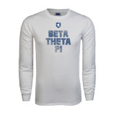 White Long Sleeve T Shirt-Stacked BTP with pattern