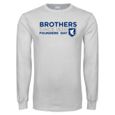White Long Sleeve T Shirt-Brothers/Founders Day