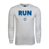White Long Sleeve T Shirt-Run Beta Theta Pi w/ Shield Stacked