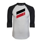 White/Black Raglan Baseball T-Shirt-Stripe Design