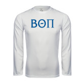 Syntrel Performance White Longsleeve Shirt-Beta Theta Pi Greek Letters