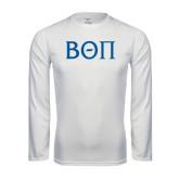 Performance White Longsleeve Shirt-Beta Theta Pi Greek Letters