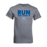 Charcoal T Shirt-Run Beta Theta Pi w/ Shield Stacked