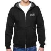 Black Fleece Full Zip Hoodie-Beta Theta Pi Greek Letters