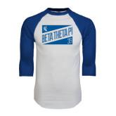 White/Royal Raglan Baseball T Shirt-Beta Theta Pi Triangles