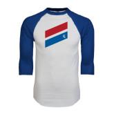 White/Royal Raglan Baseball T Shirt-Stripe Design